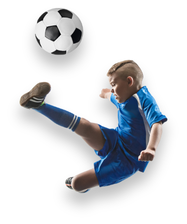 Kid kicking a soccerball.