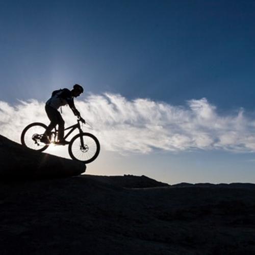 Silhouette of a person mountain biking.