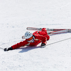Photo of a fallen skier.