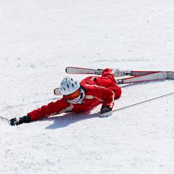 Photo of a fallen skier.