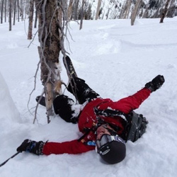 Photo of a skier who has fallen down.