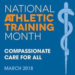 graphic acknowledging March is National Athletic Trainer Month.