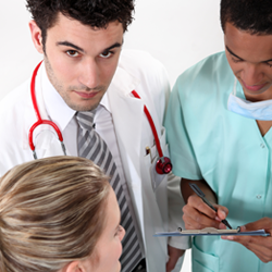 Doctors in a circle discussing.