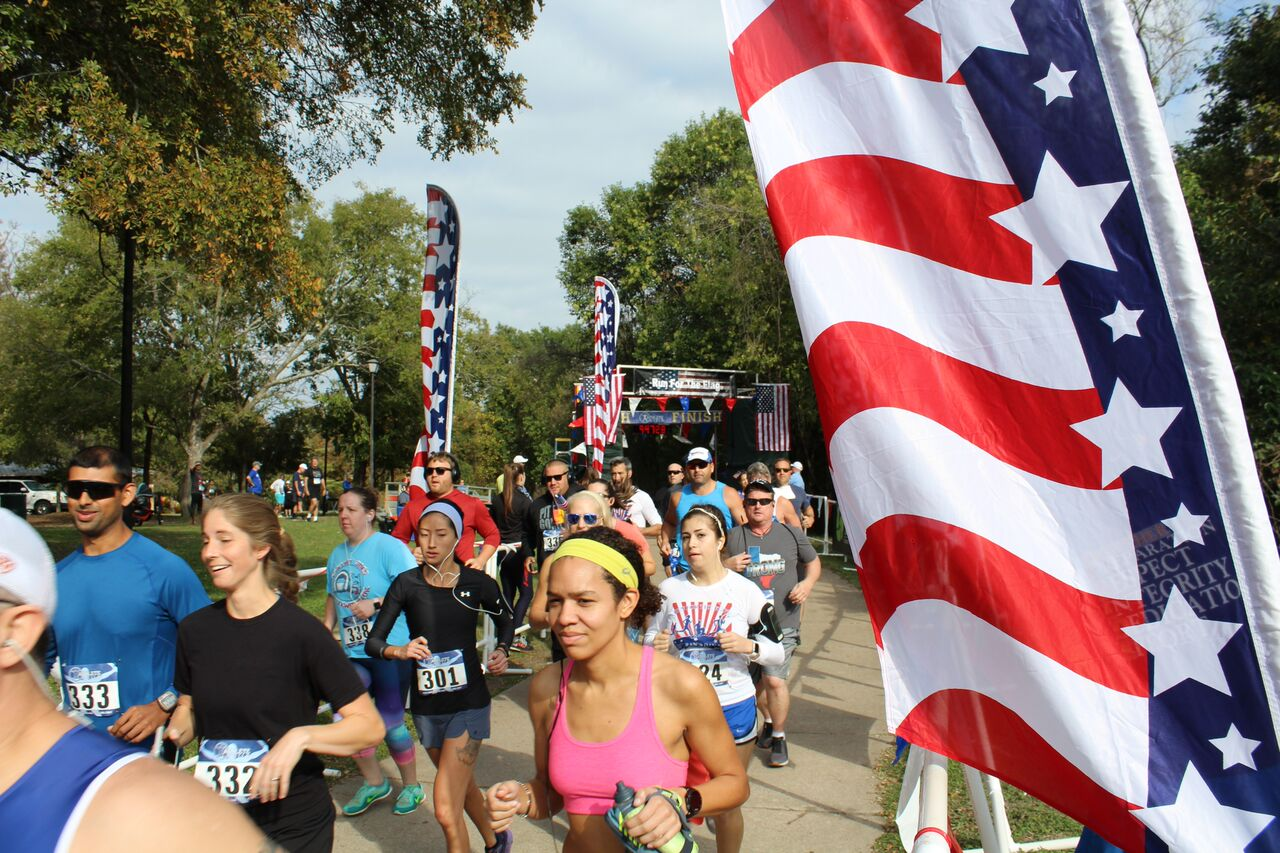 Runners participating in the Run for the Flag event.