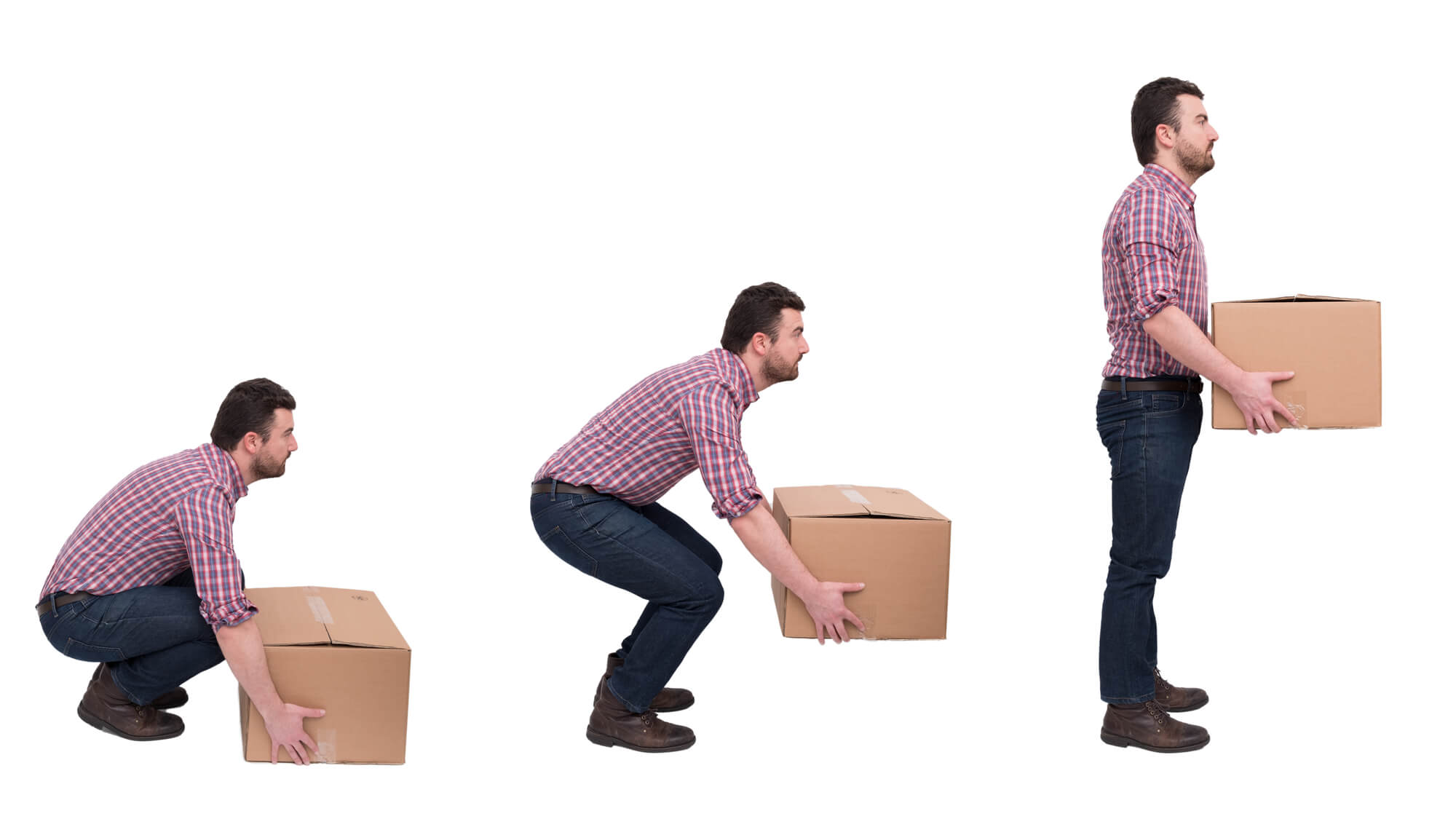 Man practicing correct lifting technique with large moving box.