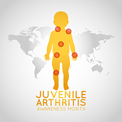 Map of world with child and headline: Juvenile Arthritis Awareness Month
