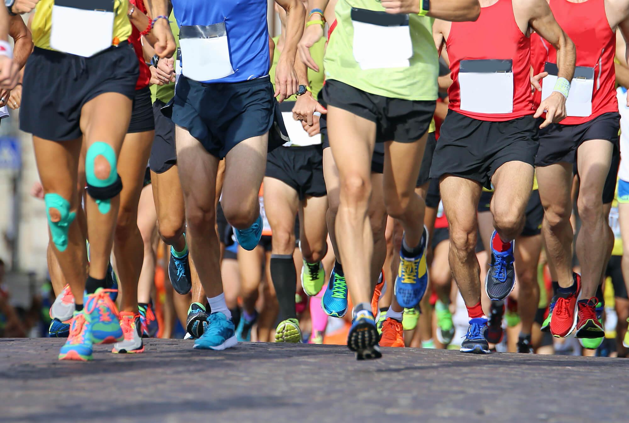 Pack of marathon runners.