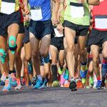 Long distance marathon runners racing