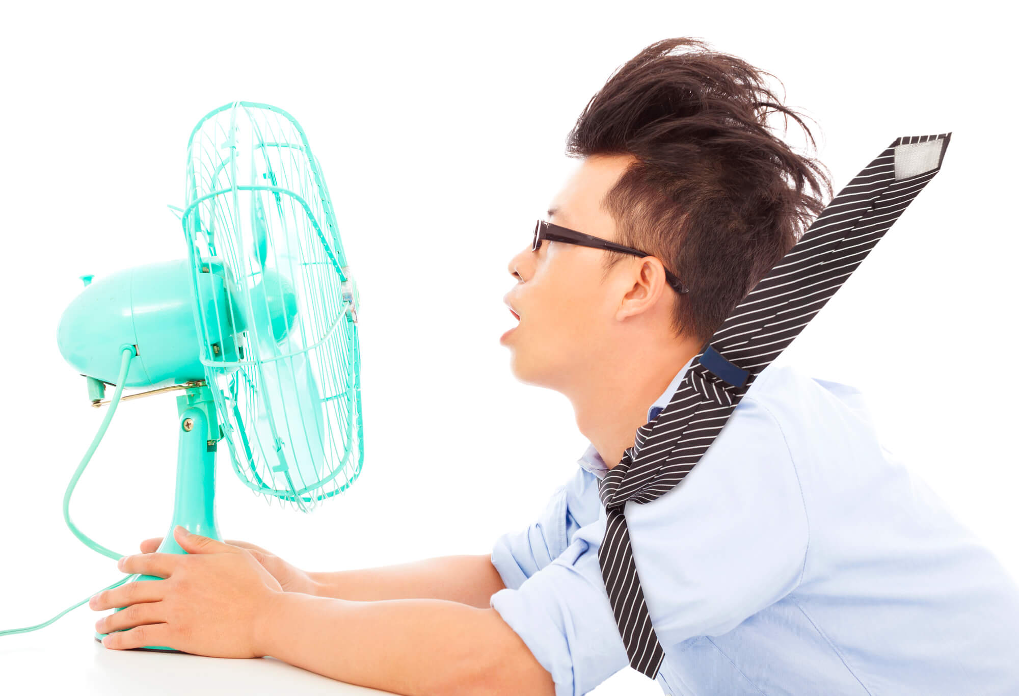 Business man use fans to cool down.