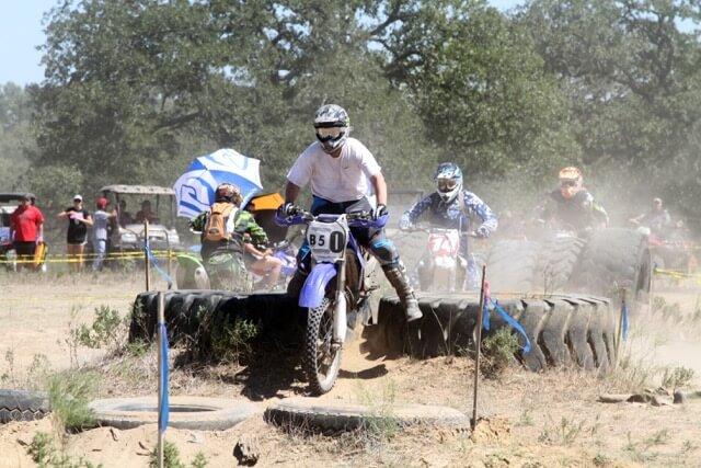 Jerrod competing in a dirt biking race.