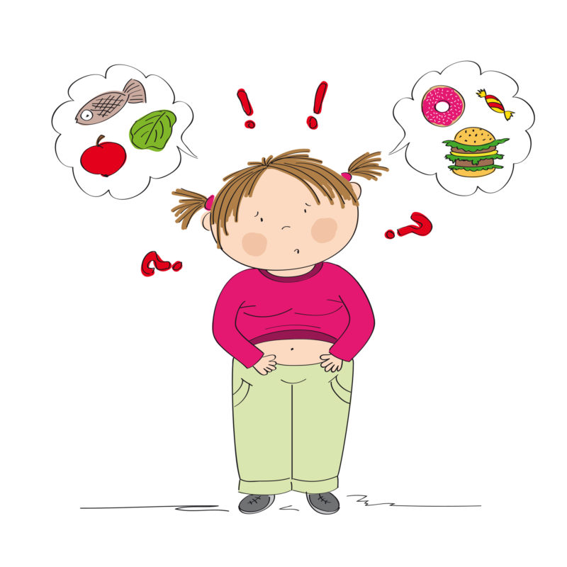 Illustration of overweight child debating between healthy and unhealthy food choices.