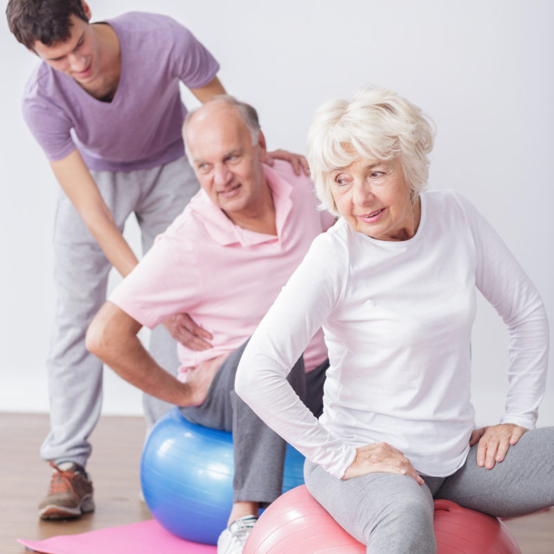 Two elderly persons exercising on medicine ball.