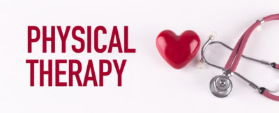 PHYSICAL THERAPY concept with stethoscope and heart shape.