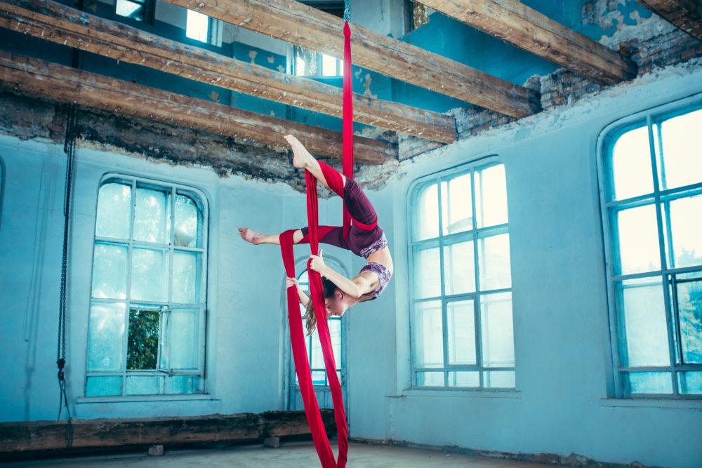 Aerial artist performing.